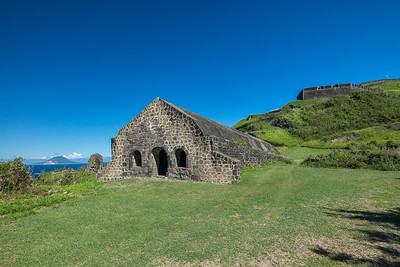 The Orillon Bastion under the protective guns of the Prince of Wales Bastion.  St Eustatius is the island on the left.