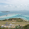 View from Fort Hill, looking over Union Island's airport and Clifton Harbor, then out to Palm Island and Petit Martinique/Petit St Vincent