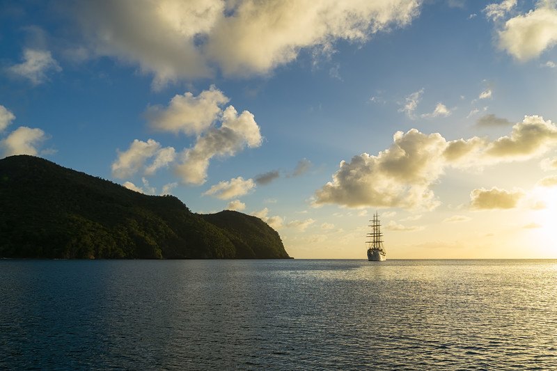 """""""Sea Cloud II"""" in Chatham Bay."""