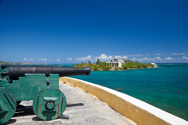 Protestant Cay from the cannons of Fort Christiansvaern, Christiansted