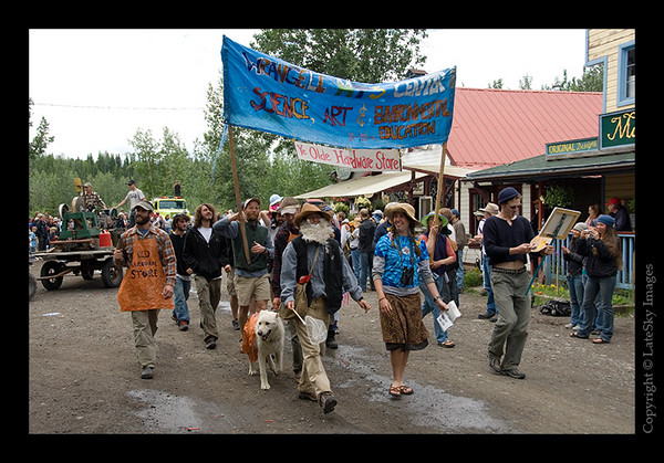 644 - Members of the Wrangell Mountain Center on the parade loop back through downtown McCarthy.