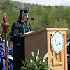 Trisha Marcoux, Class Secretary, speaks to fellow graduates at the 2008 Undergraduate Commencement.  Photo by John Hession.