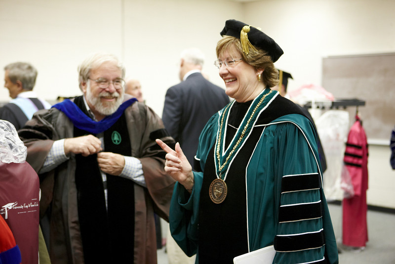 President Sara Jayne Steen prior at the 2008 Undergraduate Commencement.  Photo by John Hession.