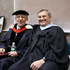 Commencement speaker T. Holmes Moore and Vice President for Student Affairs Dick Hage at the 2008 Undergraduate Commencement.  Photo by John Hession.