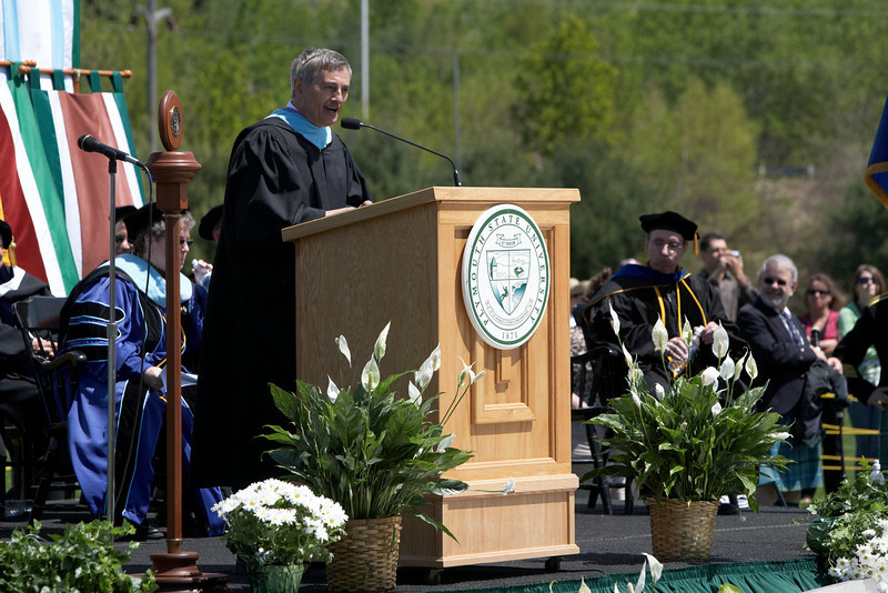 Vice President of Student Affairs Dick Hage addresses the Class of 2008.  Photo by John Hession.