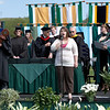 Heather Jacques `09 sings the National Anthem at the 2008 Undergraduate Commencement.  Photo by John Hession.