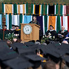 Jessica Conley, President of the Class of 2008 speaks to fellow graduates at the 2008 Undergraduate Commencement. Photo by John Hession.