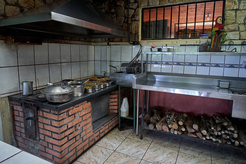 The kitchen at Finca Educiva Don Juan serves food acquired solely on the farm