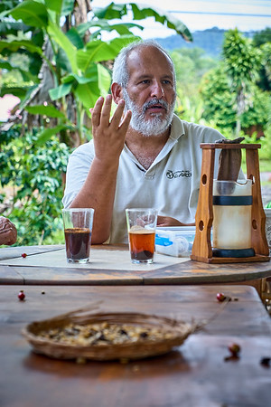 Learning all about coffee from Matias at Down to Earth Coffee in Arenal