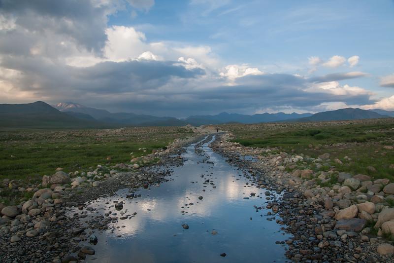 A flooded road on the Deosai plateau