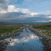 A flooded road on the Deosai plateau