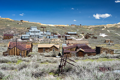 The Standard Stamp Mill and surrounding buildings from the west side of Bodie.