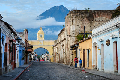 Santa Catalina Arch and Volcán de Fuego in Antigua Guatemala