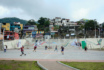 Soccer games at the waterside courts in Santiago Atitlán