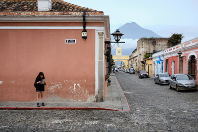 The Santa Catalina Arch and Volcán de Fuego from Iglesia La Merced