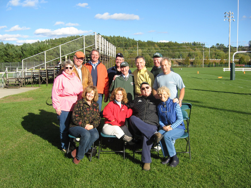 Alumni Enjoy the Panther's Victory at Homecoming- Seated left to right: Anne Boyle Holder, DeDe Connor, Steve Eastman and Sarah Eastman. Standing left to right: Crystal Lowe Skinner, Mike Schruender, Don Moser, Bill Hett, John Clark, Steve Gesing, Ed Schruender and Jason Holder.