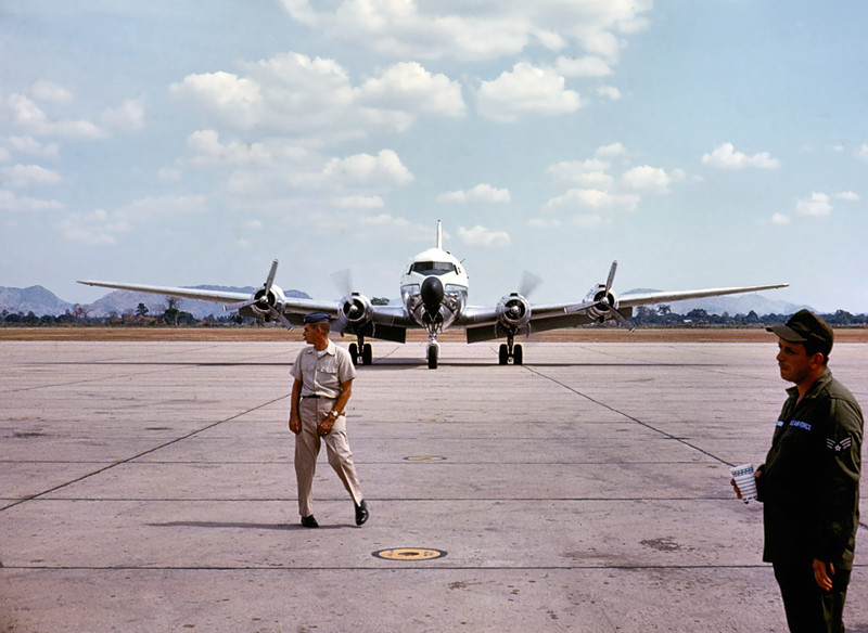 Now, where DID that fool go with my C-118?<br /> <br /> Pretty sure this aircraft is the Air Force Version of the Douglas DC-6... <br /> <br /> Takhli RTAFB Thailand, 1968-1969