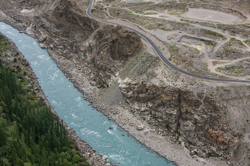 A stretch of the Karakoram Highway by the Hunza River near Karimabad