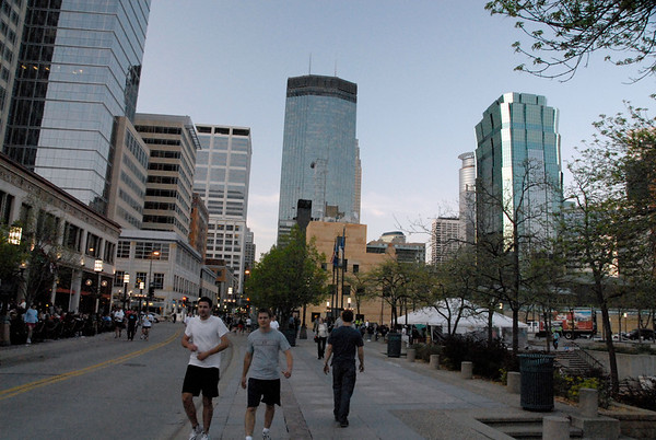 Downtown Minneapolis on a weekday evening.