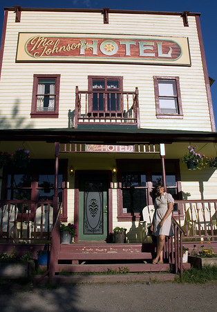 Historic Ma Johnson's Hotel in downtown McCarthy. About 5 miles further down the road from McCarthy is the famous Kennecott Mine, undergoing partial restoration in conjunction with the U.S. Parks Service. For more photos of  McCarthy and Kennecott on LateSky.com, please click here.