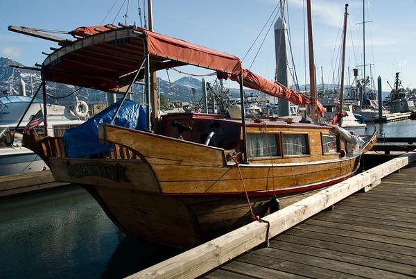 Mock Junk moored at the docks.