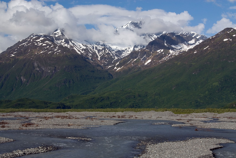 View along the Valdez Glacier Stream from the Richardson Highway entering Valdez.