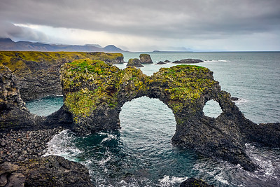 The unique basalt cliffs of Hellnar, west Iceland