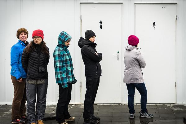 Bathroom line at Seljalandsfoss