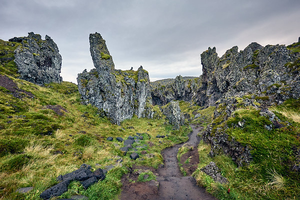The interesting path to Djúpalónssandur, also known as Black Sand Beach