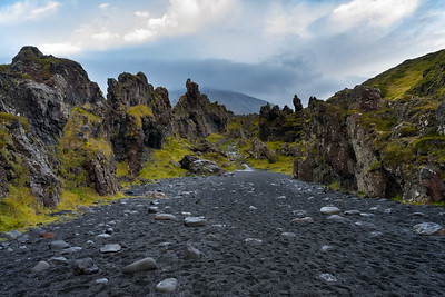 The interesting path to Djúpalónssandur, also known as Black Sand Beach