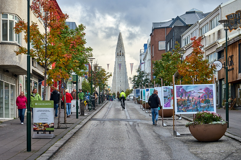 Skólavörðustígur street, Reykjavík.  Known for its view of the Hallgrimskirkja and the street art displays