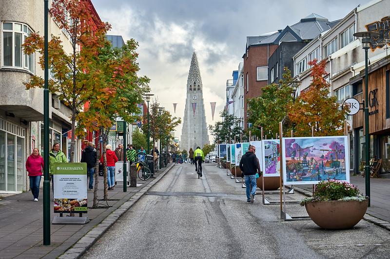 Skólavörðustígur street, Reykjavík.  Known for its view of the Hallgrimskirkja and the street art displays