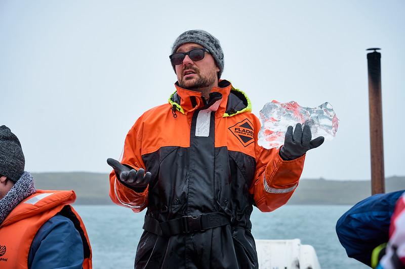Learning about the ice in Jökulsarlón Glacier Lagoon