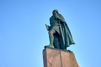 Statue of Leif Ericsson, son of Iceland, discoverer of Finland, donated by the United States.  In front of Hallgrimskirkja Church in Reykjavík