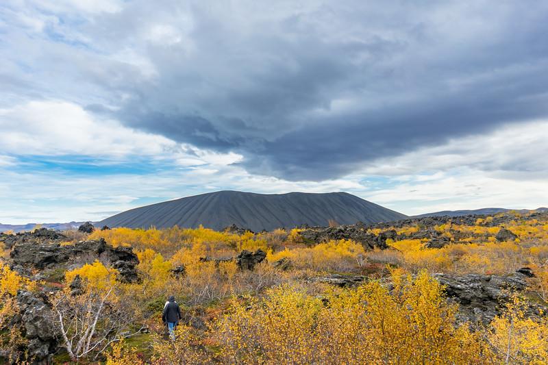 Hiking to Hverfjall along the Dimmuborgir network of trails