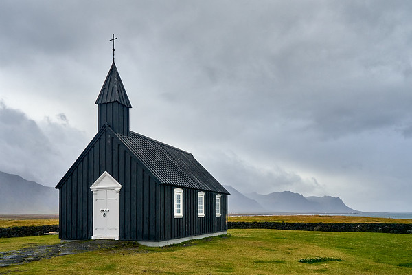 The unique black church of Buðir, on Iceland's Snaefellsness Peninsula