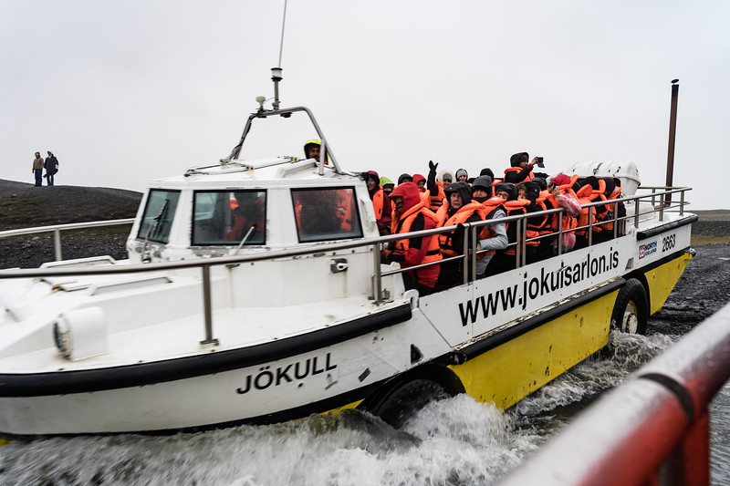 One of the tour duckboats launchin in Jökulsarlón Lagoon