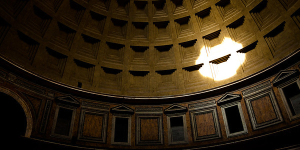 Sunlight through the roof of the Pantheon, Rome, Italy.