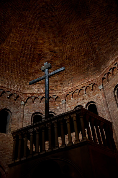 Looking up inside the old Church of the Sepulchre.