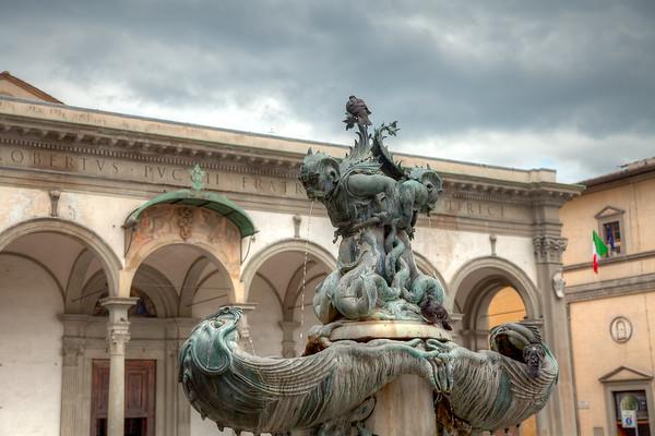 Tacca's Mannerist fountain in front of Basilica della Santissima Annunziata, in Piazza Annunziata.  Florence, Italy.