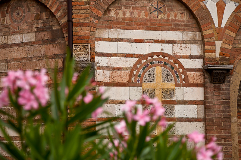 A lot of the decorative work on the outside of the 11th-century Church of San Sepolcro was reused from an earlier Roman Pagan temple.