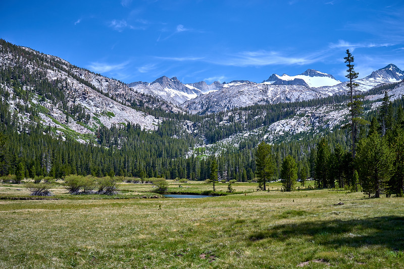Donahue Peak towering over Lyell Canyon and the Lyell Fork of the Tuolumne River.  Mile 32.