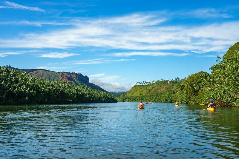 Kayaking up the Wailua River, Kaua'i