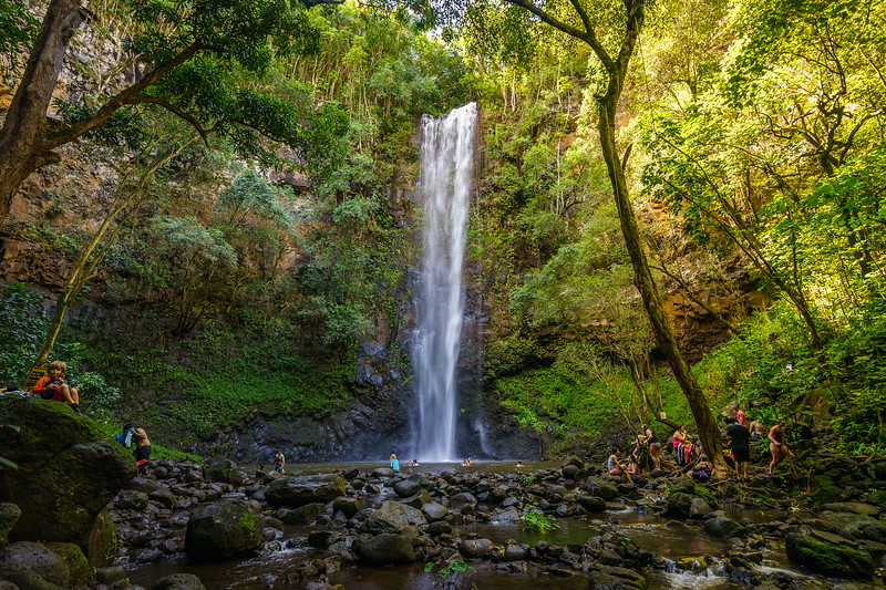 Uluwehi Falls, also known as Secret Falls