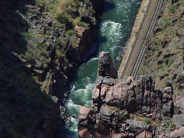 Reference the caption on the previous 'normal perspective'(approximately) image of the Arkansas River flowing through the Royal Gorge, Colorado...The river is 1,053 feet below us.