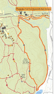 """5+ Mile Loop from Route 124/Boutonville Rd """"back entrance"""" including highest elevation in the park and 450+ ft vertical climb and rock scramble."""