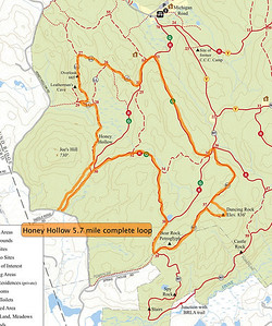 5.7 Mile Loop entering from Honey Hollow Road. Includes Rock Trail, Green, Red trails plus Leatherman's Cave overlook.