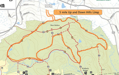 5 Mile Loop from Lewisboro Town Park including extra hills and some of the Leatherman's Loop trails.