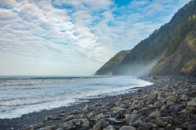 The rocky shoreline along the Lost Coast.