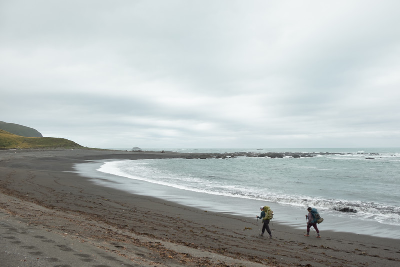 Walking along the beach at the beginning of the Lost Coast Trail